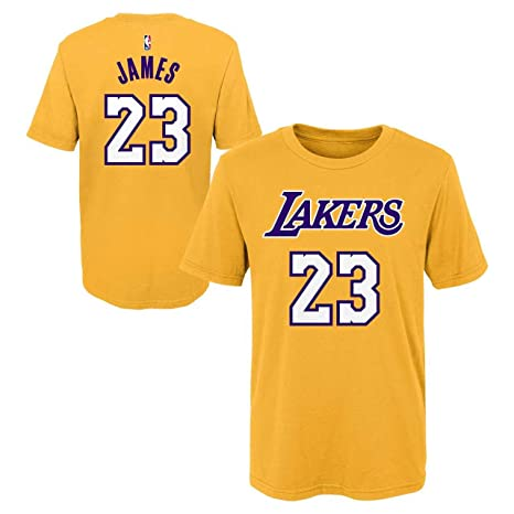 b9b57c78f Outerstuff Youth Los Angeles Lakers Lebron James Name and Number Short  Sleeve T-Shirt (