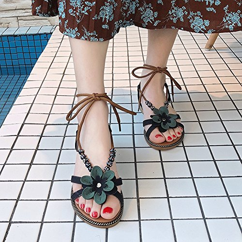Ladies Black Slip String Flower Womens Flat JULY Dressy Bohemia Comfy On Beaded Fashion T Sandals Slippers Bowknot Walking EwpTg7UqU