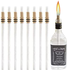 Wine Bottle Torch Kit 8 Pack, Includes 8 Long Life Torch Wicks, Brass Wick Mount(13.7 Inch,Bottle not Included)