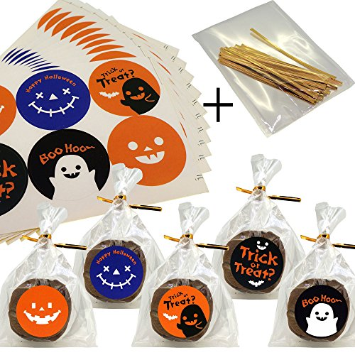 Halloween cello Treat bags for Cookie Biscuits Candy Cake Baking Packaging, Pack of 50 bags and 60 Stickers (10x15cm) -