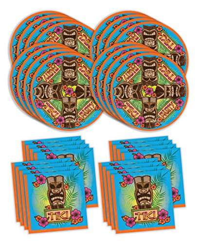 Bestie Planet Luau Party Supplies - Hawaiian Party Supplies - Tiki & Hibiscus Inspired For Your Hawaiian Theme Party -