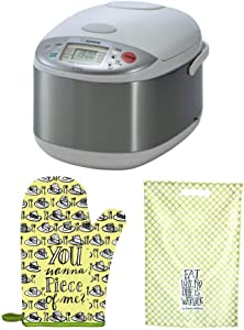 Zojirushi NS-YAC18 Umami Micom 10-Cup Rice Cooker and Warmer (Pearl White) with Oven Mitt and Dishtowel Bundle (3 Items)