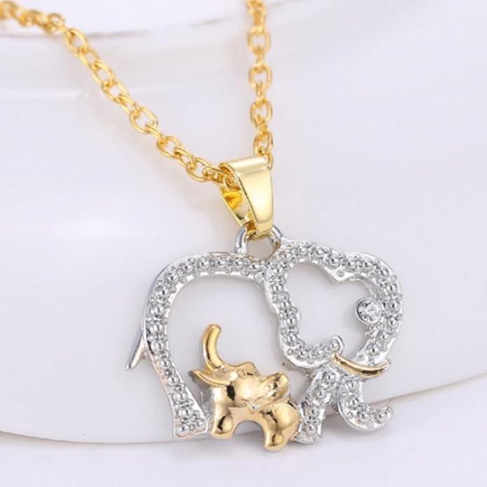 IzuBizu London Elephant Family Necklace Silver Gold Plated Animal Big Elephant with Baby Pendant - Luxury Gift Box ZptSm