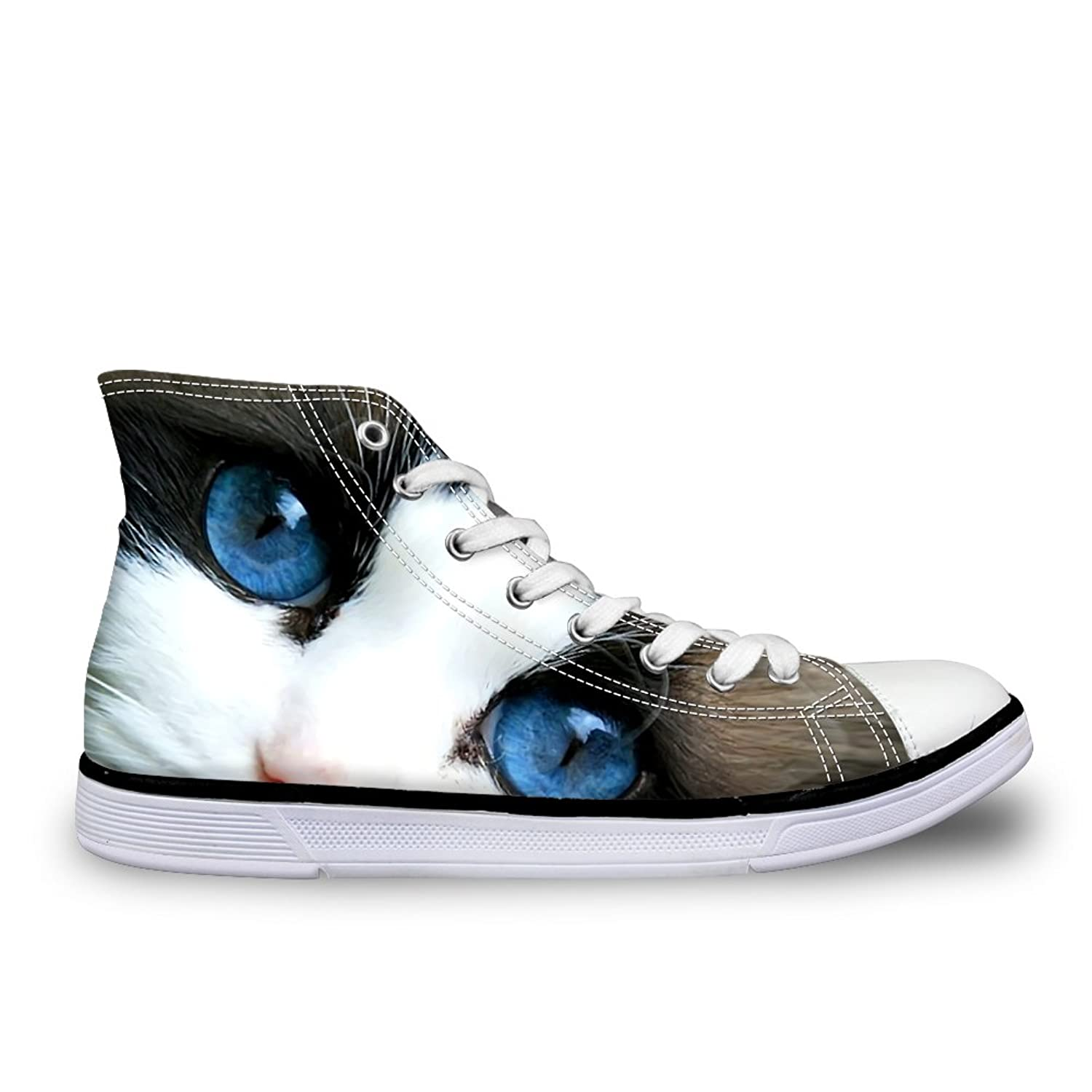 HUGSIDEA Cat Eyes Pattern Cute Women's High Top Canvas Shoes Sport Sneakers