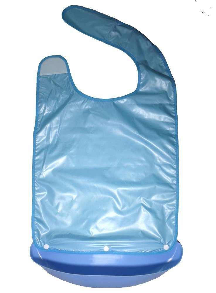 Widened Adult Bib Napkin Apron Waterproof Mealtime Protector with a Plastic Pocket Crumb Catcher Easy to Clean for Seniors Disabled Patients White-Collars Well-Dressed Gift Grandpa Grandma XL Blue by Sunco-Intl