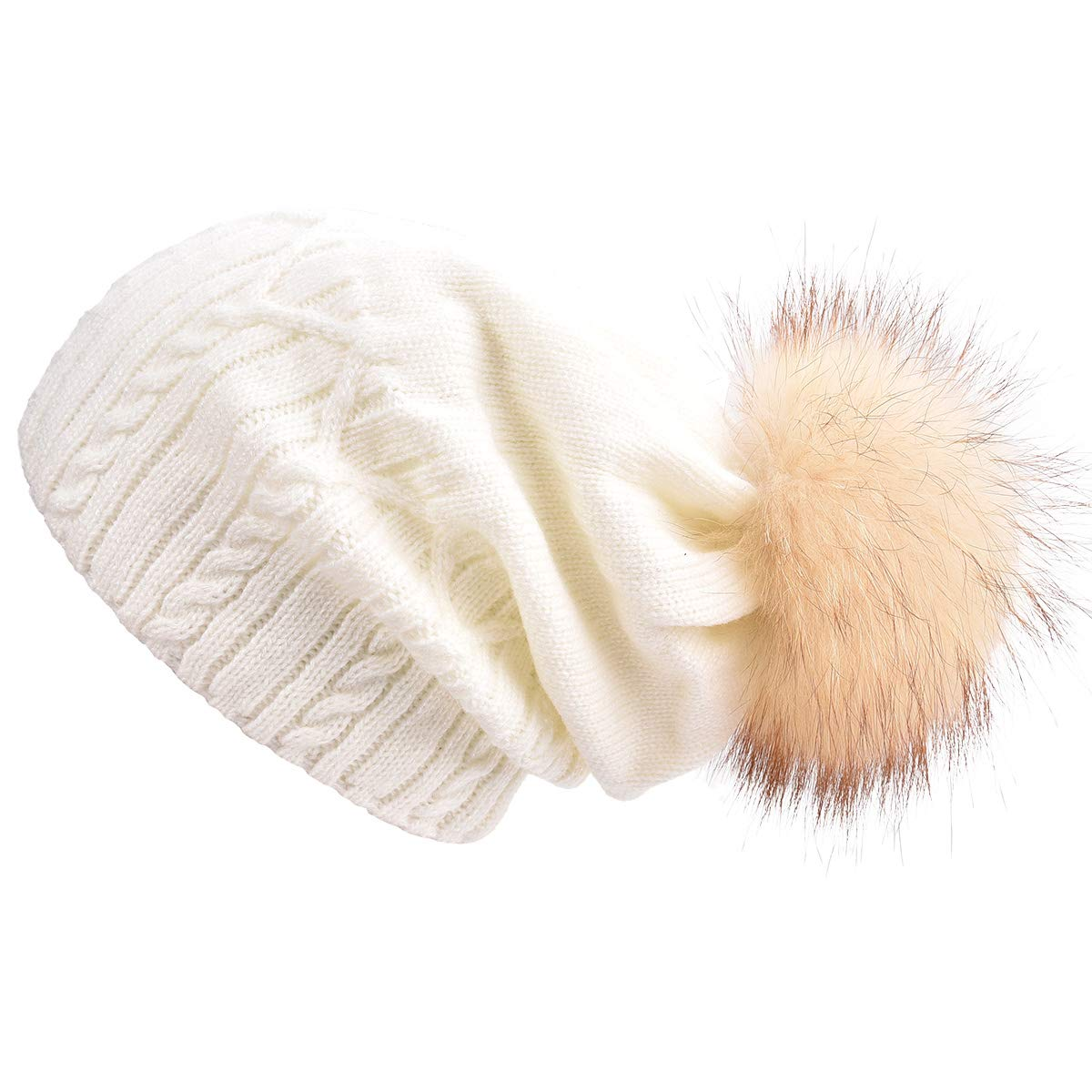 14c9a92e044b0 SOMALER Winter Hats for Women Real Fur pom pom Beanie Slouchy Beanies  Kintted hat 6 Colors