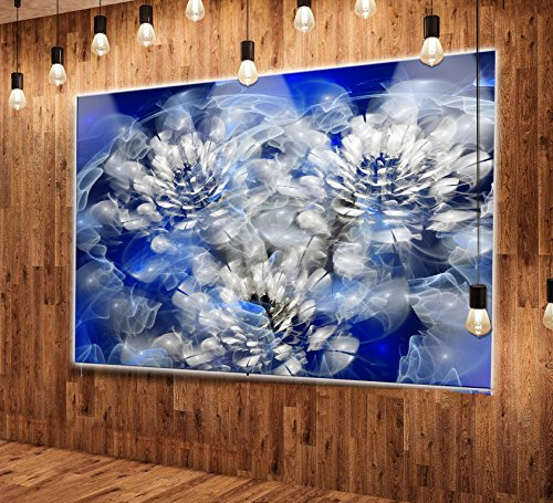 Designart MT14099-48-40-LED Abstract Fractal Flower Spiral-Flower Extra Large LED Glossy Metal Wall Art, 48 x 40, (Abstract Spiral Wall Art)