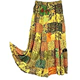 OMA Women's Hippie Bohemian Patchwork Long Skirt Vintage Style Ethnic Wear - Premium Quality Brand (Yellow)