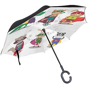 Emiuly Paraguas Plegable del Coche del revés de la Capa ...