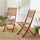 NEW Kingsbury Folding Eucalyptus Wood Garden Patio Chair - 2 Pack