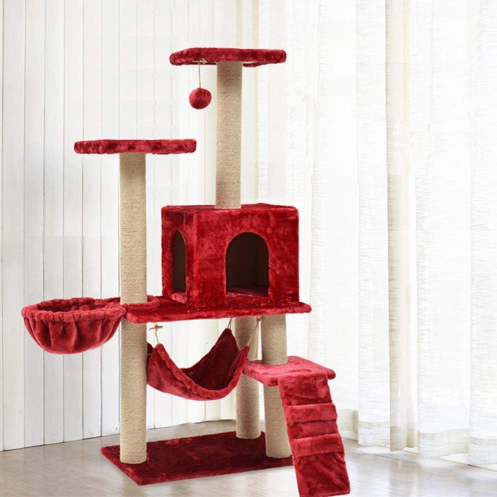 Red Deluxe Multi Cat Tower Creative Play Towers Trees for Cats Cat Climbing pet cat Climbing Frame cat Tree cat Nest Cat House cat Toy Cat Grab Pillar (color   Red)