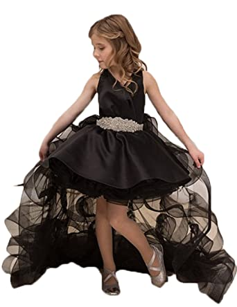 78149a83def Dresshine Girls Detachable Skirt Black Pageant Gown High-Low Ruffles Prom  Dress at Amazon Women s Clothing store