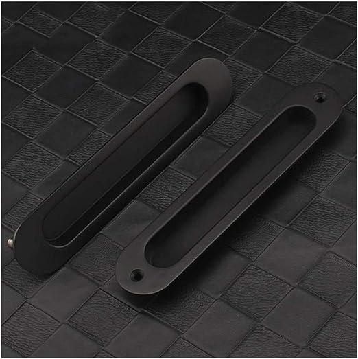 Empotrada en la Puerta corredera, cajón del Armario Empotrado, Ovalado, aleación de Zinc Negro, Fuerza Oculta del Dedo for Grosor, Puerta corredera de Granero de 38-52 mm (Color : Matt Black): Amazon.es: