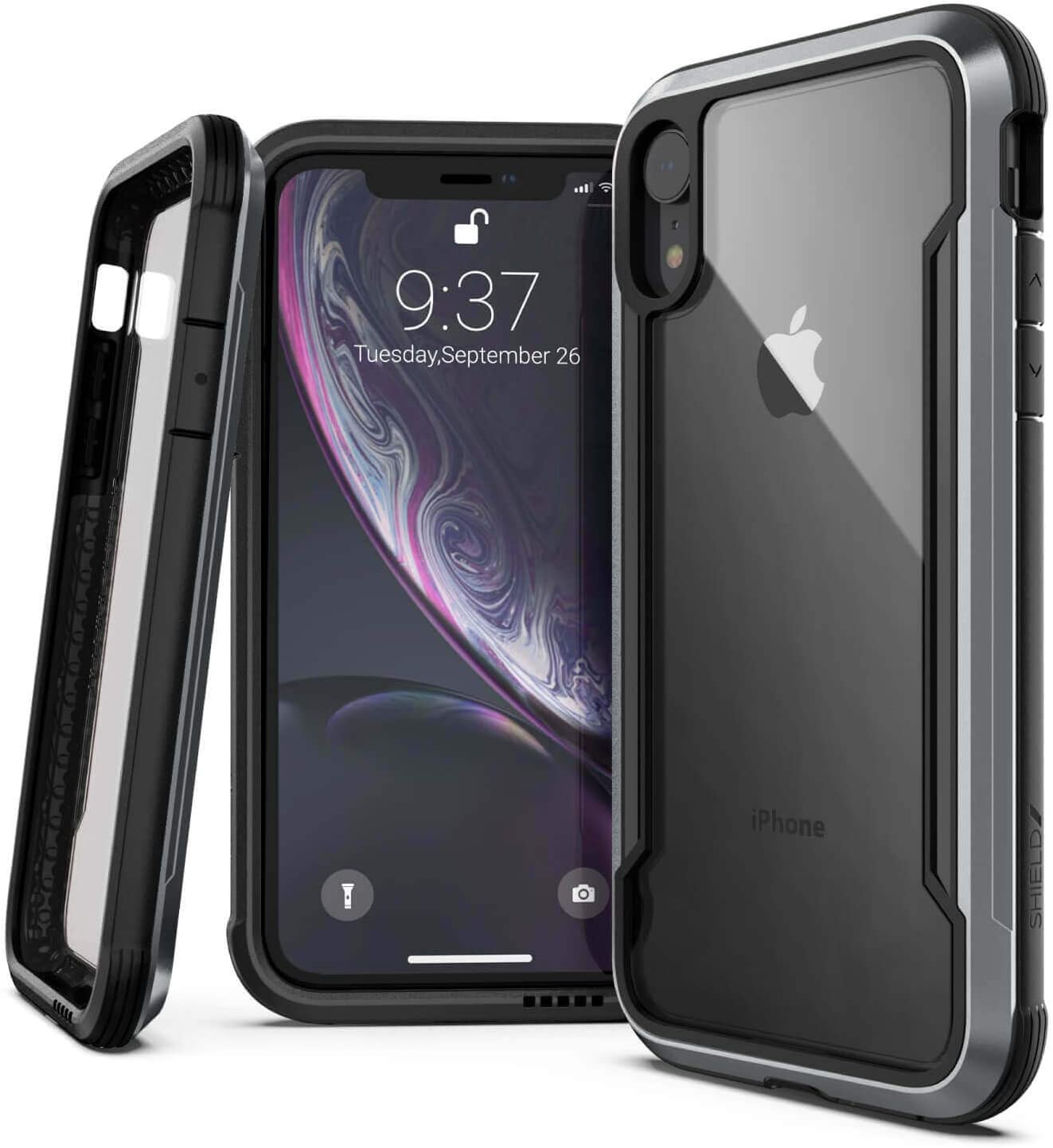 Raptic Shield, Compatible with Apple iPhone XR (Formerly Defense Shield) - Military Grade Drop Tested, Anodized Aluminum, TPU, and Polycarbonate Protective Case for Apple iPhone XR Black
