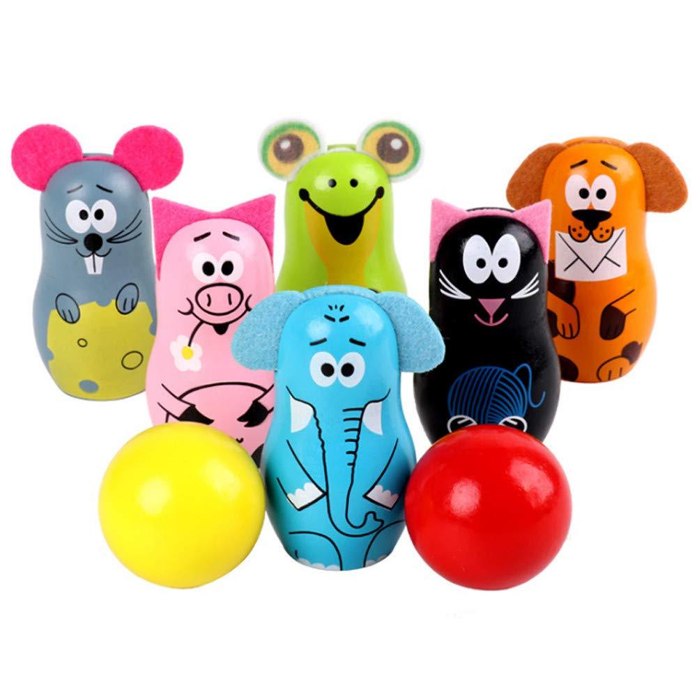 Fiudx Children's Gifts Birthday Toys KidsBowling Set Wooden Toys - Kids Bowling 6 Wooden Animal Bowling Set