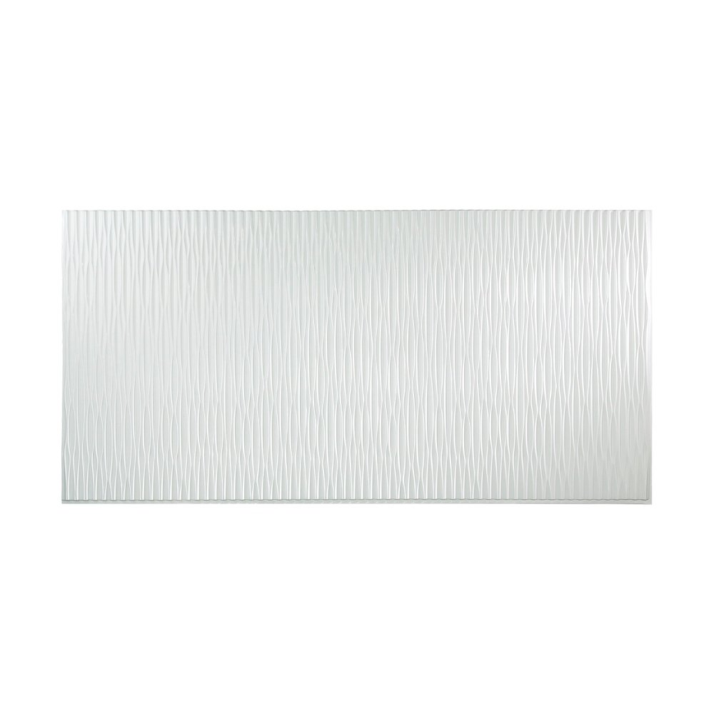 Fasade - Dunes Vertical Gloss White Decorative Wall Panel - Fast and Easy Installation (4' X 8' Panel) by Fasade