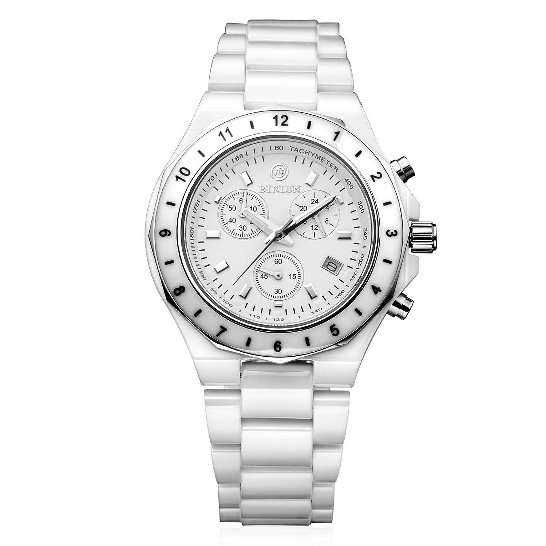 BINLUN Chronograph Japanische Quarz Weiß Rosa Keramik Herren Frauen Uhren mit Datum