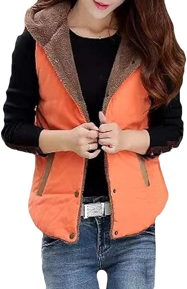 Women Warm Hooded Vest Coat Thick Cotton Padded Slim Regular Button Jacket Outwear