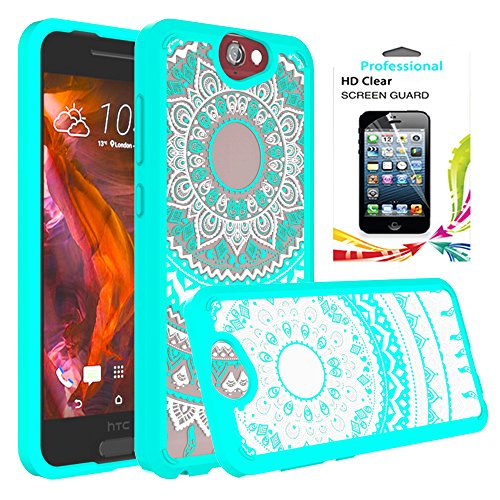 HTC One A9 Case Clear ,HTC A9 Phone Case With HD Screen Protector [Drop Protection], AnoKe [Scratch Resistant] Women Girls Mandala Flower TPU Unlocked Phone Cover Case For HTC One A9,A9u,A9w -Mint