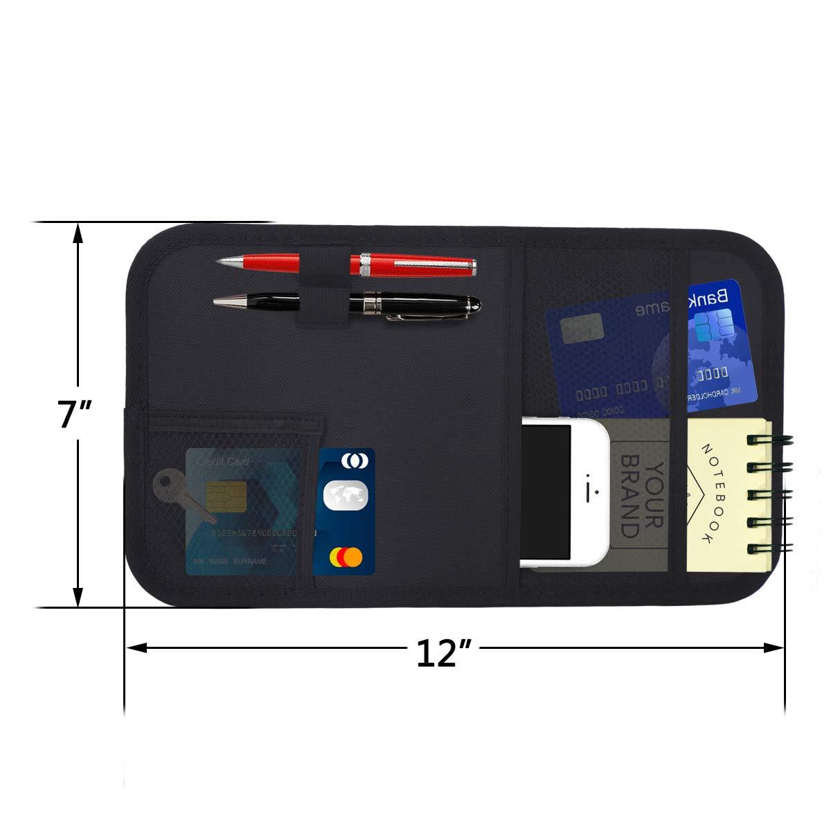 Autoark Car Sun Visor Organizer,Auto Interior Accessories Pocket Organizer,Document and Registration Holder,Personal Belonging Storage Pouch Organizer,AK-082