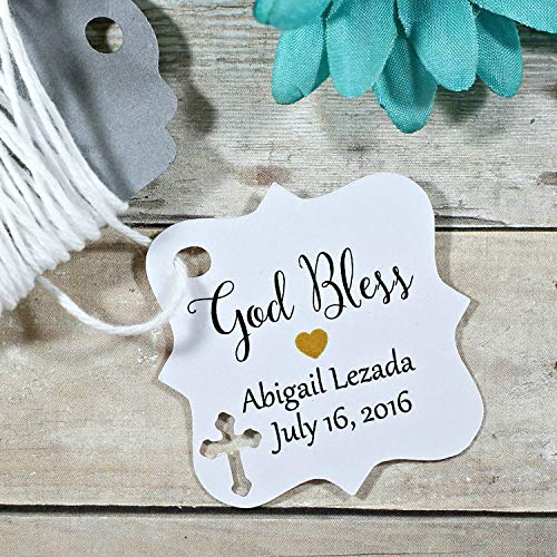 White Baptism Tags - Small Personalized Favor Tags