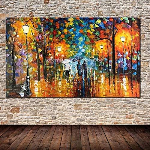 Gran amante pintado a mano lluvia calle arbol lampara paisaje pintura al oleo sobre lienzo pared arte pared cuadros para sala de estar decoracion del hogar 80x130 cm (32x52 pulgadas) sin m
