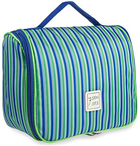 7Senses Toiletry Bag Hanging Cosmetic Bag Toiletry Kit - Large Travel Bag for Women, Girls - Lightweight Durable & Stylish with Multiple Compartments and Hanging Hook,Blue/Green