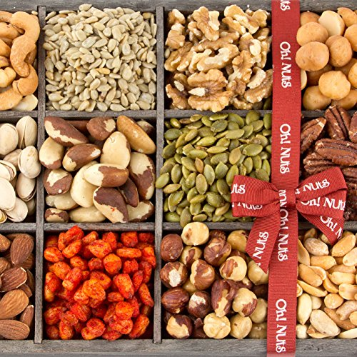 Fathers Day Mixed Nuts Gift Baskets and Seeds Holiday Gift Tray 12 Variety Gift Baskets, Freshly Roasted Snack Healthy Gift Box - Oh! Nuts (Holiday Gift Tray)