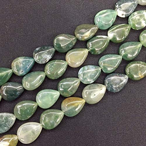 String Bead Moss Agate - Calvas Colorful Stone Beads Spacer Flat Drop Pear Shape DIY Loose Beads String 13x18mm for Earrings Jewelry - (Color: Moss Agate)
