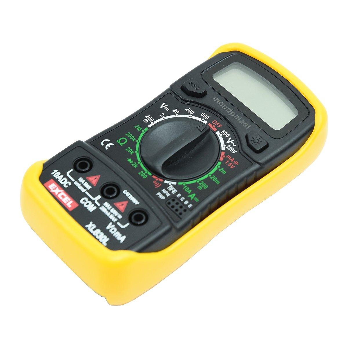 Multim/ètre Digital LCD Voltm/ètre Ohmm/ètre Amp/èrem/ètre 2 Cordons