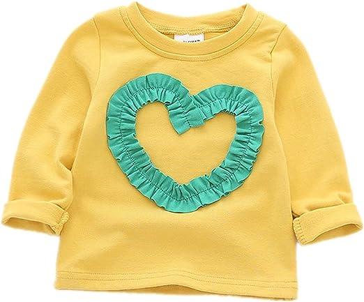 Camisetas para bebés Camisetas de Manga Larga Ropa para niñas Camisas básicas de algodón: Amazon.es: Ropa y accesorios