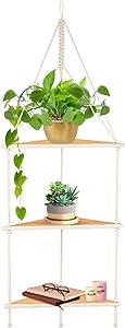 3 Tier Corner Hanging Shelf, Macrame Wall Hanging Shelf, Boho Wall Hanging Shelf, Floating Hanging Corner Shelf, Window, Handmade, Unit, Plants, Desk, Light Wood, Small, Kids