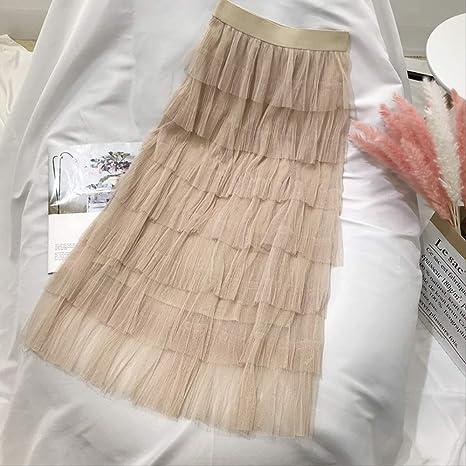 MEILIDE Falda para Mujer Falda de Malla Femenina otoño e Invierno ...