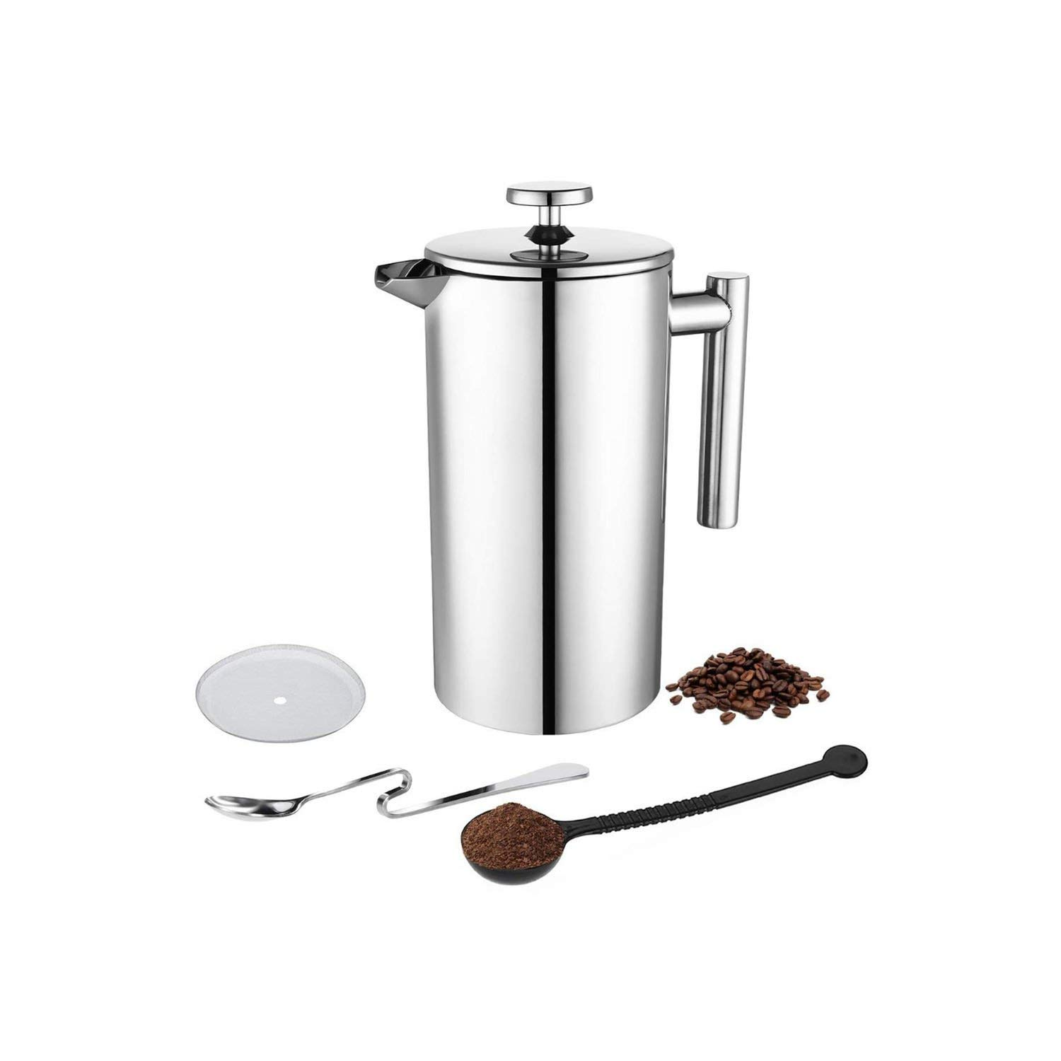 Coffee-Percolators Coffee Press Stainless Steel Coffee Maker Double Walled Construction 3 Pieces,350Ml