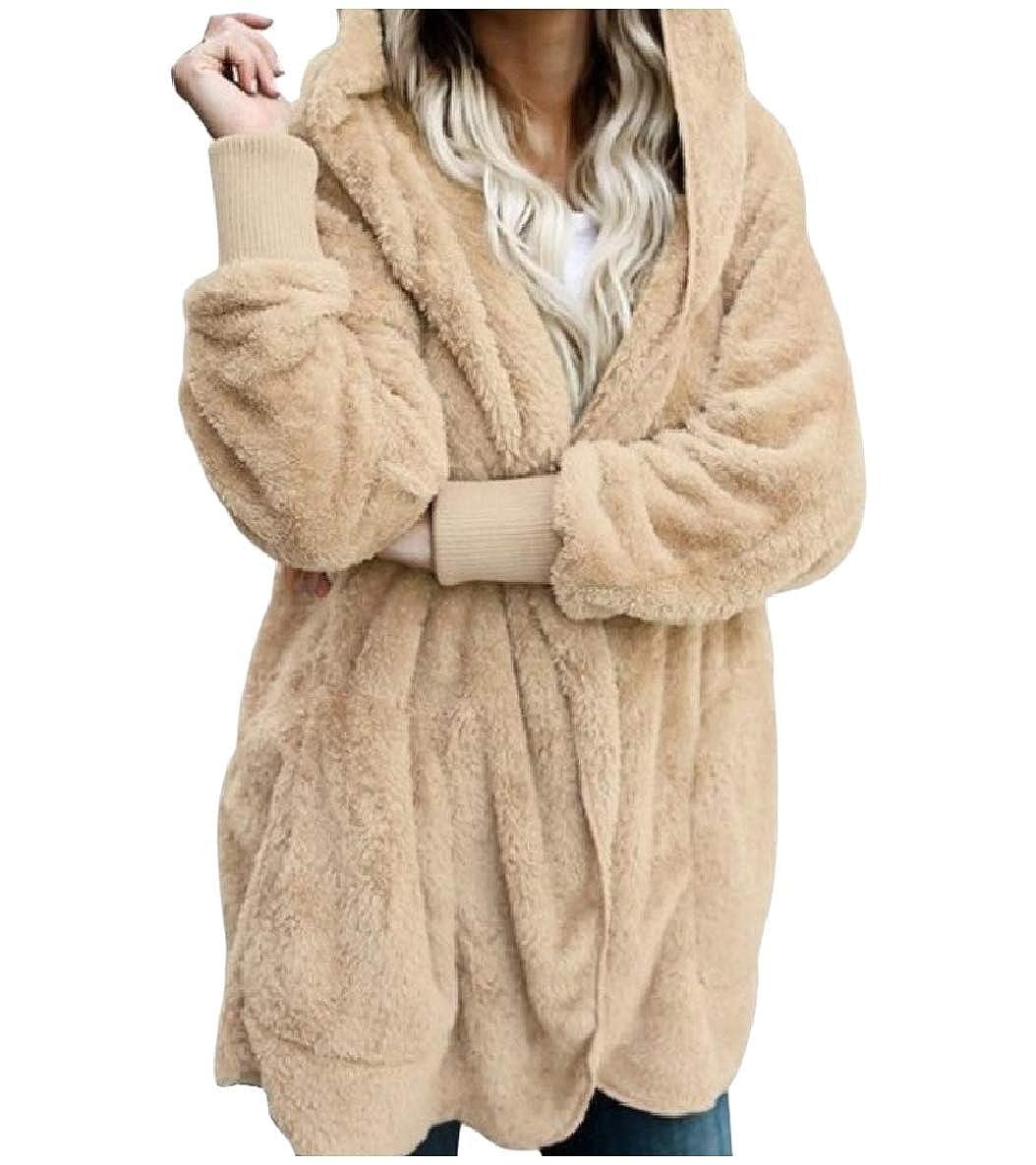 Tryist Womens Mid-Long Warm Fluffy Casual Loose Faux Fur Coat Jacket Outwear