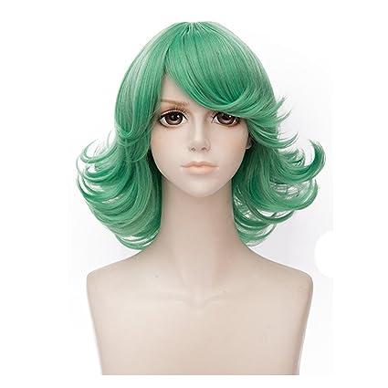 Sola perforación Man cosplay peluca senritsu no tatsumaki Anime Cosplay Verde Ondulado Peluca Para Mujer