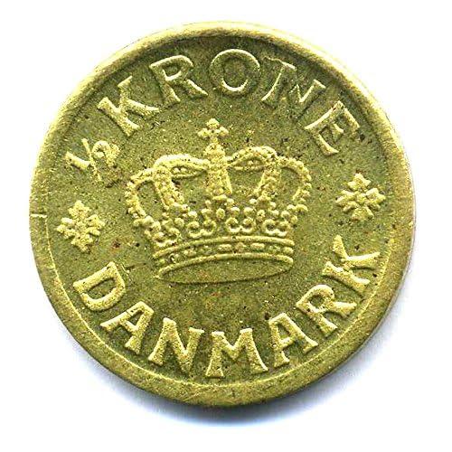 Pièce Kongeriget Danmark 1/2couronne le Danemark 1939?Roi Christian X.
