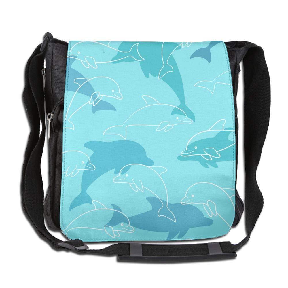 SARA NELL Messenger Bag,ocean Dolphin,Unisex Shoulder Backpack Cross-body Sling Bag