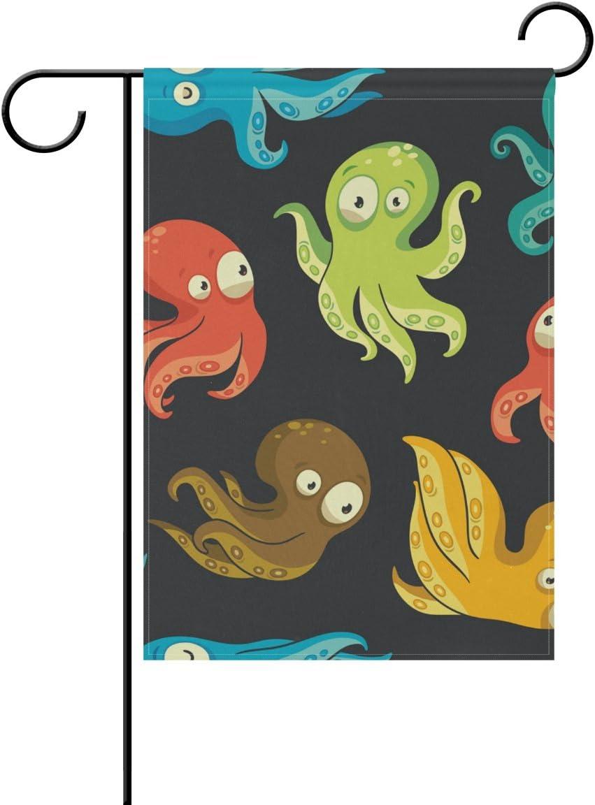 ALAZA Cartoon Octopus Funny Decorative Double Sided Garden Flag 12 x 18 inch