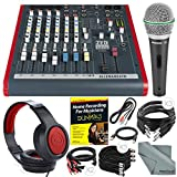 Allen & Heath ZED60-10FX 6-Channel Mixer with Digital Effects and USB I/O + Platinum Bundle w/ Microphone, Headphones, Home Recording Guide, 10X Cables, Fibertique Cloth
