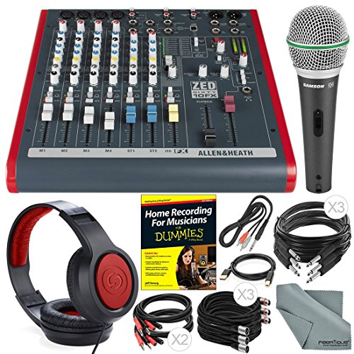 Allen & Heath ZED60-10FX 6-Channel Mixer with Digital Effects and USB I/O + Platinum Bundle w/ Microphone, Headphones, Home Recording Guide, 10X Cables, Fibertique Cloth by Photo Savings
