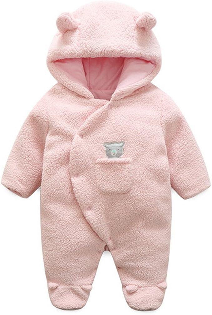 Winter Overall Mit Kapuze Schneeanzug Outfits B/ärenohren Kost/üm Babykleidung Geschenk 0-3 Monate Braun Baby Fleece Strampler f/ür Jungen M/ädchen