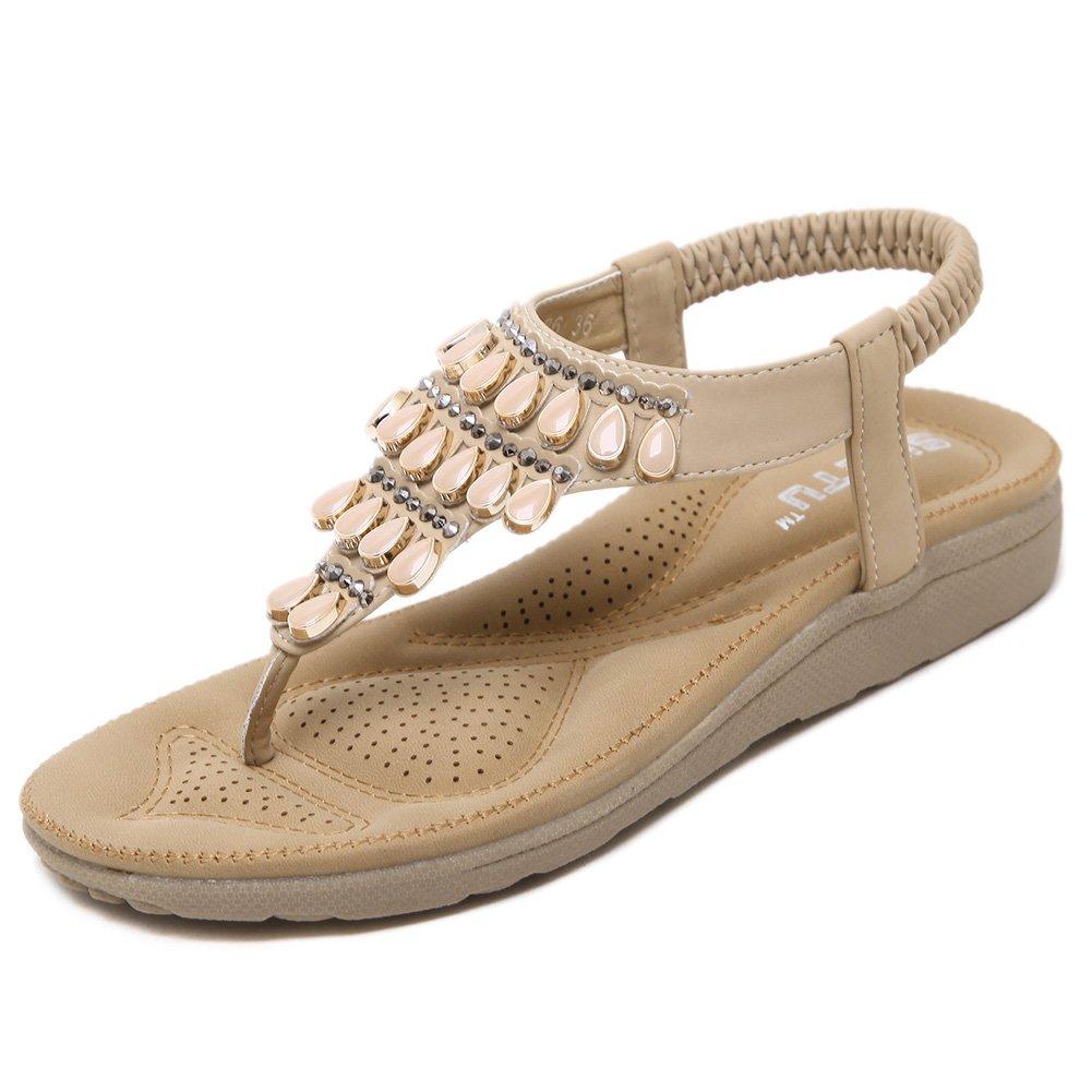 SANMIO Damen Sandalen, Frauen Sandals Bohemian Strass Flach Sandaletten Sommer PU Leder Zehentrenner  39 EU|Beige-a