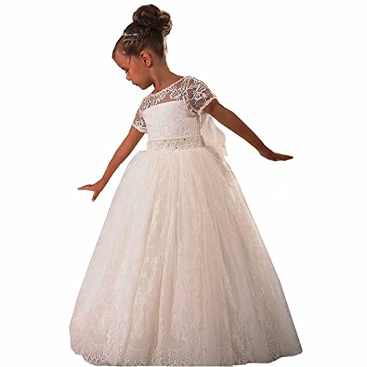43a564d2f8 Amazon.com  Angel Dress Shop Girls Flower Girl Dresses White Lace  Cinderella Communion Dress Short Sleeves Wedding Prom Party  Clothing