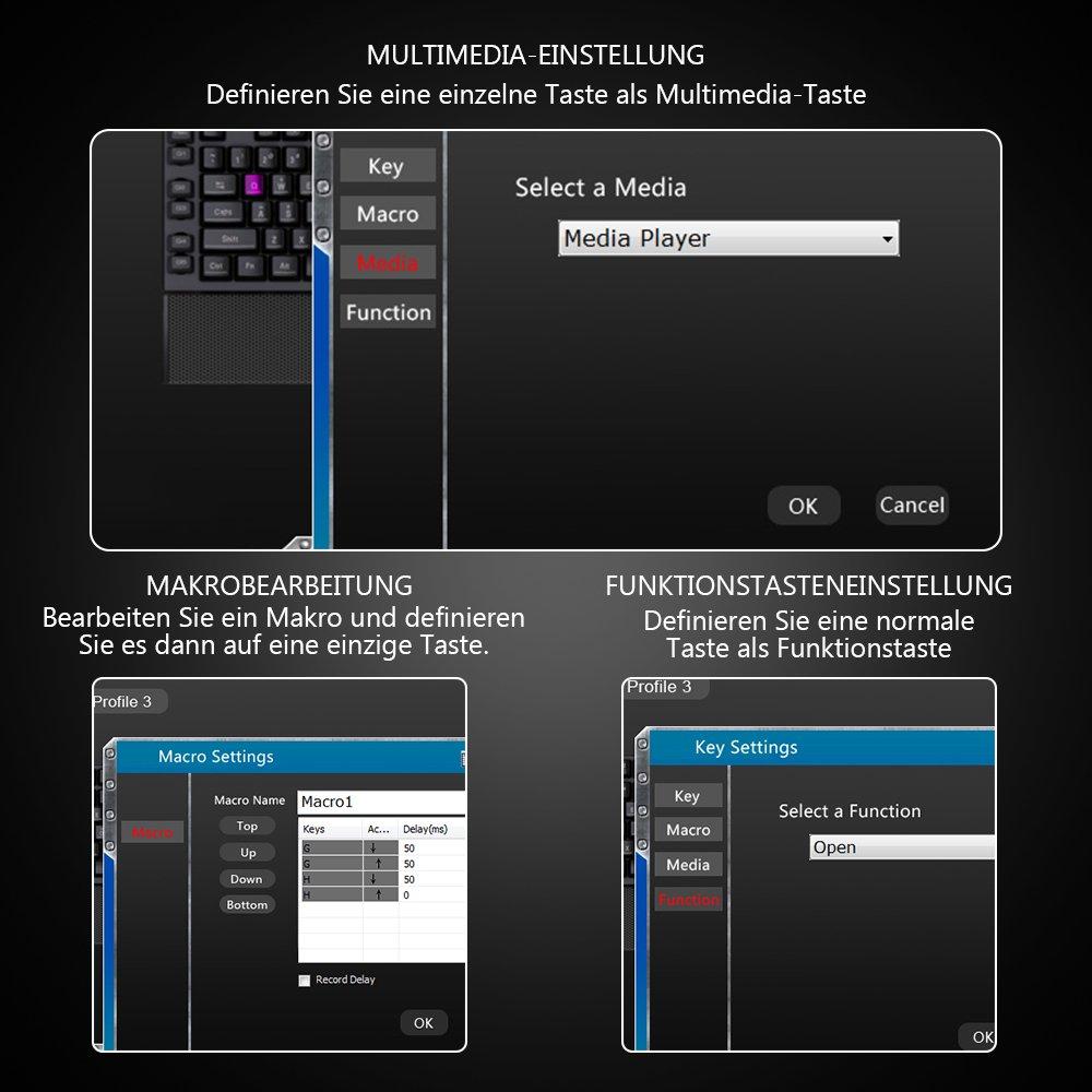 TOPELEK wired Gaming-Tastatur Deutsch Layout QWERTZ mit: Amazon.de ...