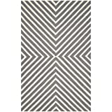 Safavieh Cambridge Collection CAM129X Handcrafted Moroccan Geometric Dark Grey and Ivory Premium Wool Area Rug (5' x 8')
