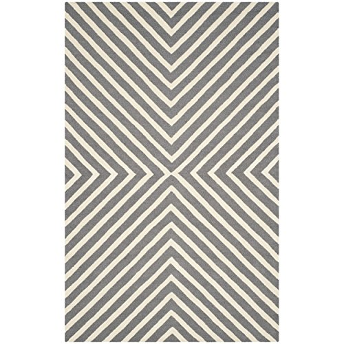 Safavieh Cambridge Collection CAM129X Handcrafted Moroccan Geometric Dark Grey and Ivory Premium Wool Area Rug (5' x 8') by Safavieh