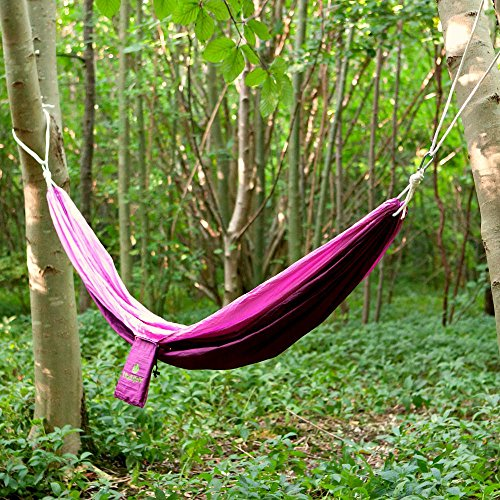 Best Travel Camping Hammock Single Lightweight High Quality Parachute Nylon Suitable For Indoor/Outdoor Backpacking Festivals Hiking Camping. Includes Free Compact Bag.