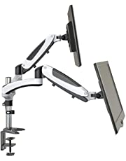 Dual Monitor Mount Ergonomic Perlegear - Full Motion Monitor Arm Gas Powered Height Adjustable Swivel Tilt - VESA 75-100mm Fits Two 15-27 Inch LCD Screens, Each Arm Holds 8KG - C Clamp Desktop Mount