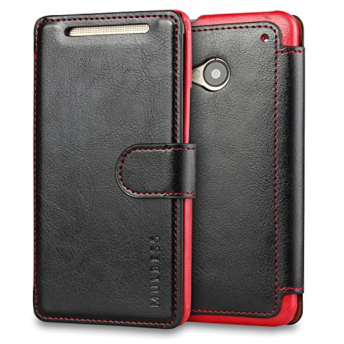 - M7 Case,HTC One M7 Case Wallet,Mulbess [Layered Dandy][Vintage Series][Black] - [Ultra Slim][Wallet Case] - Leather Flip Cover with Credit Card Slot for HTC One M7
